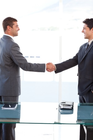 Cheerful businessmen closing a deal by shaking their hands photo