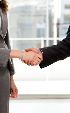 Close up of a businessman and businesswoman shaking their hands photo