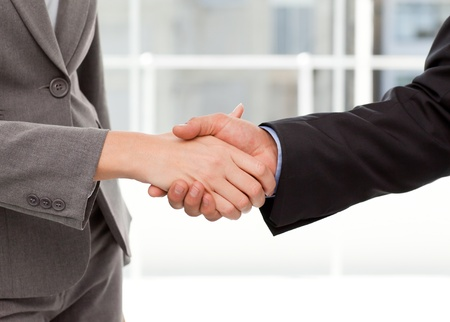 Close up of two businesspeople shaking their hands Stock Photo - 10195528