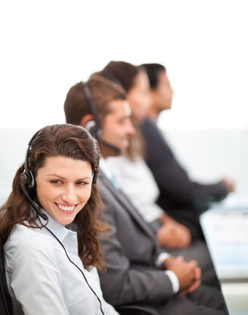 Pretty representative with working in a call center Stock Photo - 10195576