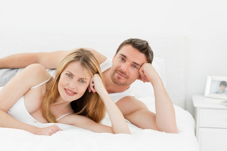Happy lovers looking at the camera Stock Photo - 10196999