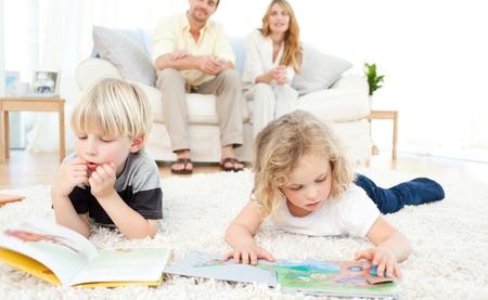 Children reading books photo