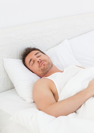 A man in his bed before waking up Stock Photo - 10196625