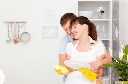Handsome man hugging his wife Stock Photo - 10195548