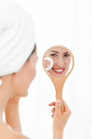 Lovely woman making up photo
