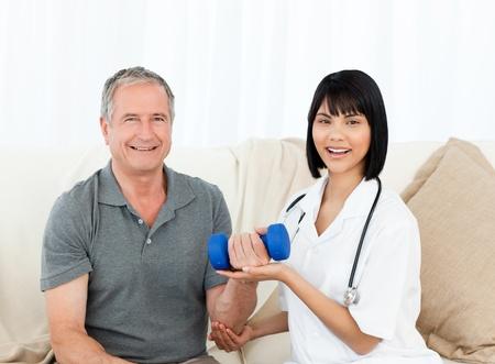 Sick man taking his pills at home photo