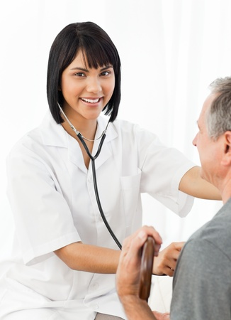 Nurse with her patient looking at the camera Stock Photo - 10195583