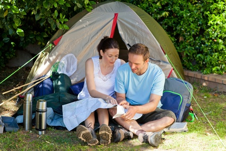 Couple camping in the garden photo