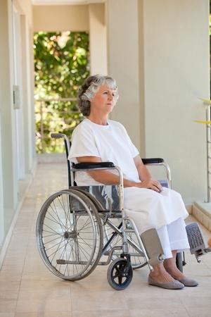 paraplegia: Woman in her wheelchair