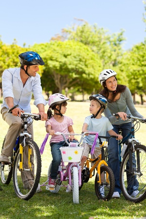 Family with their bikes Stock Photo - 10190366