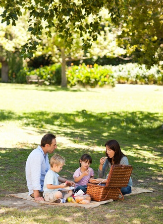 Smiling family picnicking in the park photo