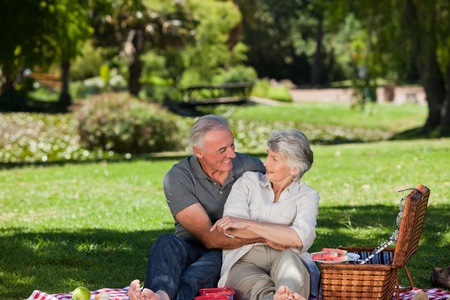 picnicking: Mature couple  picnicking in the garden