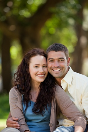 Couple sitting in the garden photo