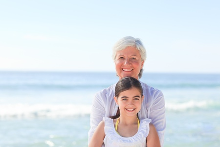 Grandmother with her granddaughter photo