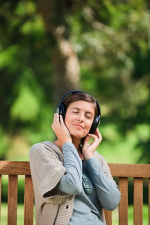 Young woman listening to some music photo