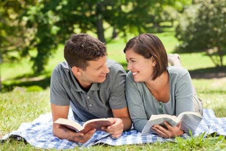 Couple reading a book photo