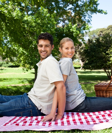 picnicking: Lovers picnicking in the park