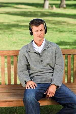 Relaxed man listening to some music Stock Photo - 10197377