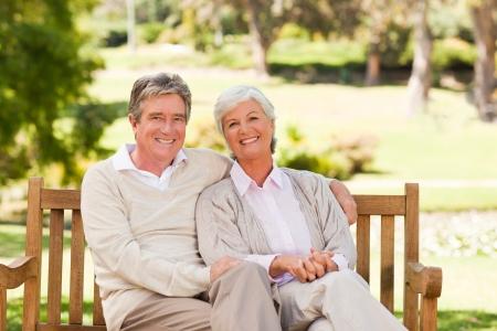 Senior couple on the bench Stock Photo - 10185097