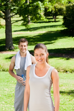 Sporty couple in the park Stock Photo - 10185231