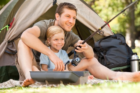 Father fishing with his son Stock Photo - 10190692
