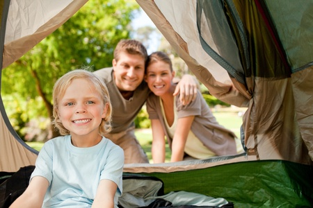 Happy family camping in the park Stock Photo - 10195181