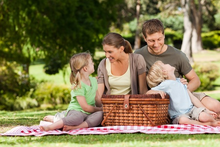 family health: Joyful family picnicking in the park Stock Photo