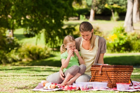 Mother and her daughter picnicking in the park photo