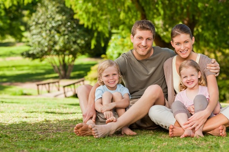 Lovely family in the park photo