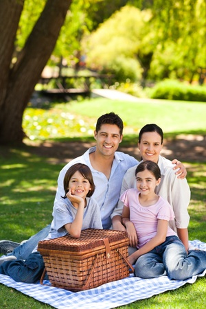 Family picnicking in the park photo