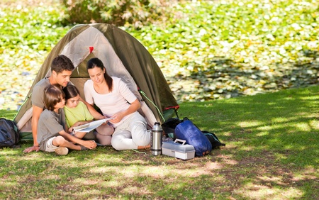 camping tent: Family camping in the park