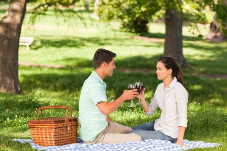 Young couple  picnicking in the park photo