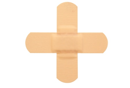 Top view of band-aid on a white background photo