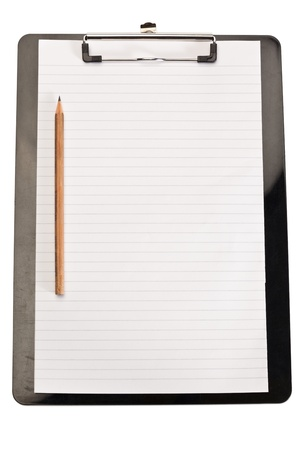 Pencil on the left of note pad on a white background photo