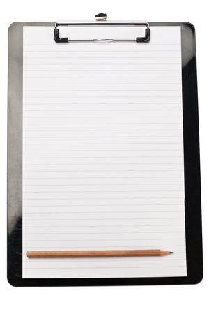 Pencil at the bottom of note pad on a white background photo