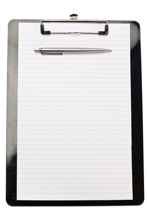 Pen on the top of note pad on a white background photo