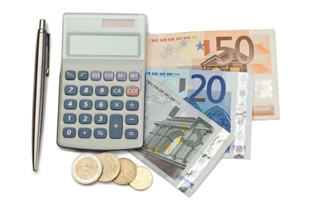 Cash and coins with pen and pocket calculator on a white background Stock Photo - 10206037