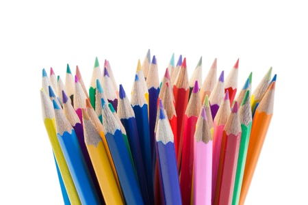Color pencils gathering on a white background photo