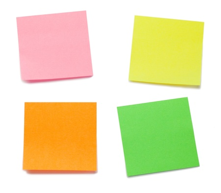 Color post-its on a white background Stock Photo - 10194770