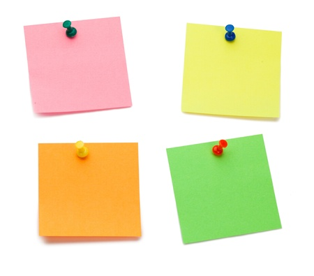 post it note: Color post-its with drawing pins on a white background Stock Photo