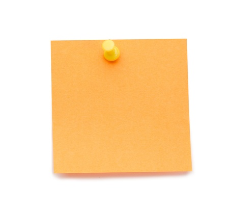 Orange post-it with drawing pin on a white background photo