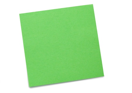Green post-it on a white background Stock Photo - 10198675