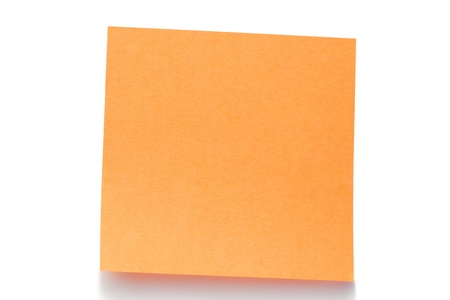 Orange post-it on a white background photo