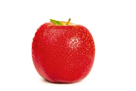 Red wet apple and its leaf on a white background Stock Photo - 10194852