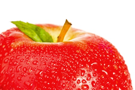 Top part of a red wet apple on a white background photo