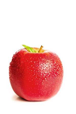Red wet apple ans its leaf on a white background photo