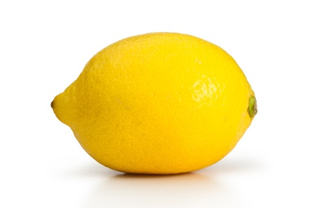 Yellow lemon on a white background photo