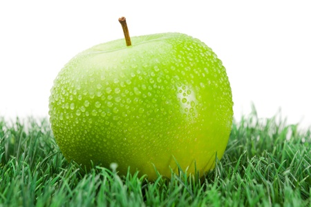 Green wet apple on grass on a white background photo