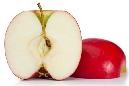 Red halved apple on a white background photo
