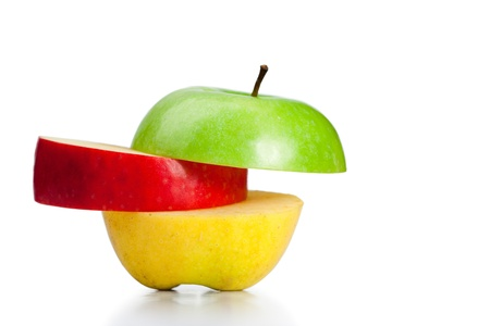 Combination of green, yellow and red apples on a white background photo